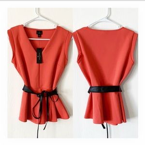 NWT Worthington belted peplum top coral petite S